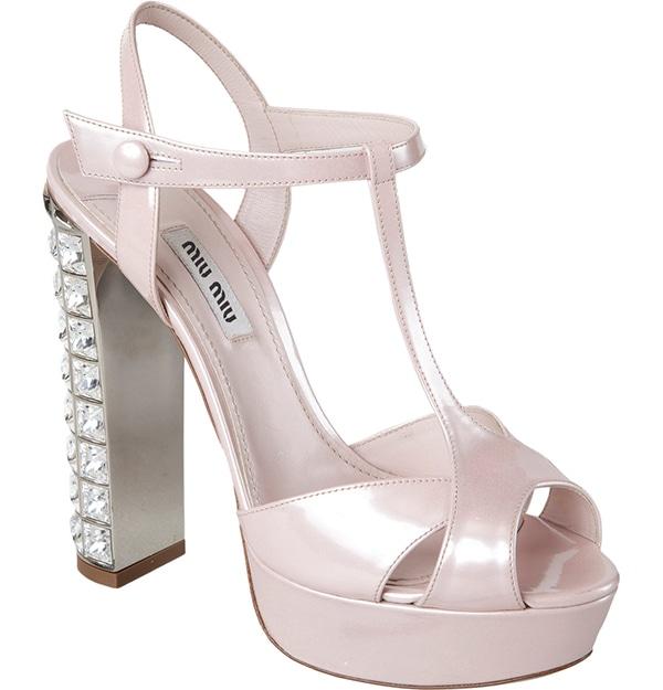 Miu Miu T-Strap Jeweled Heel Sandals