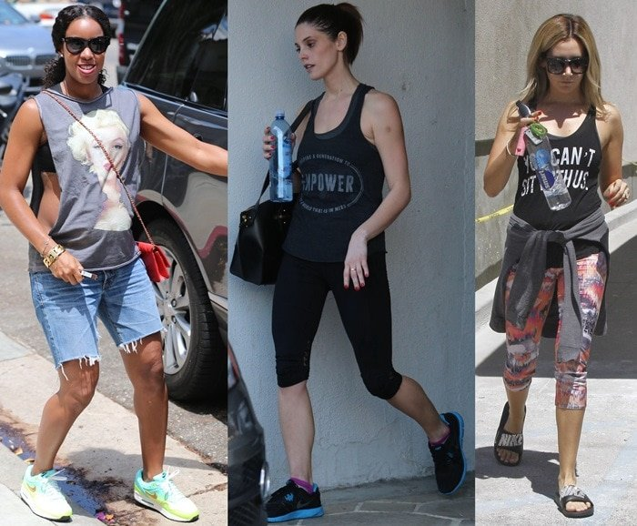 Celebrities wearing muscle t-shirts