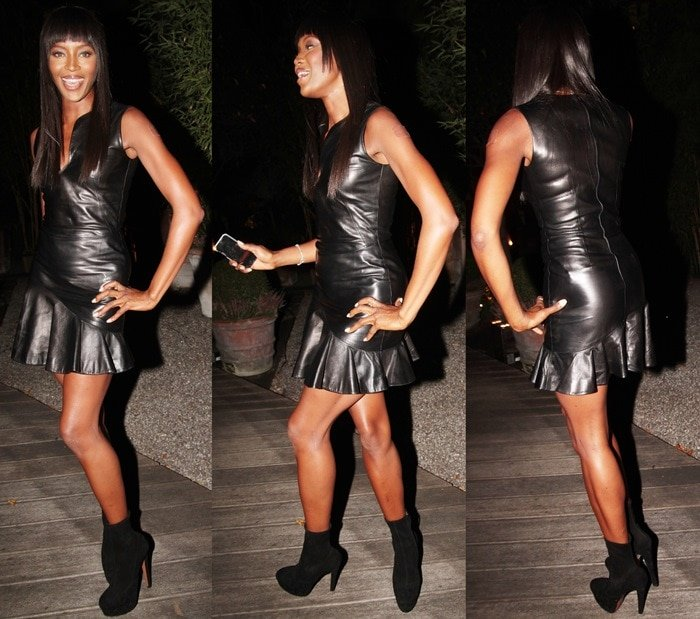 Naomi Campbell flaunts her sexy pins in a leather dress