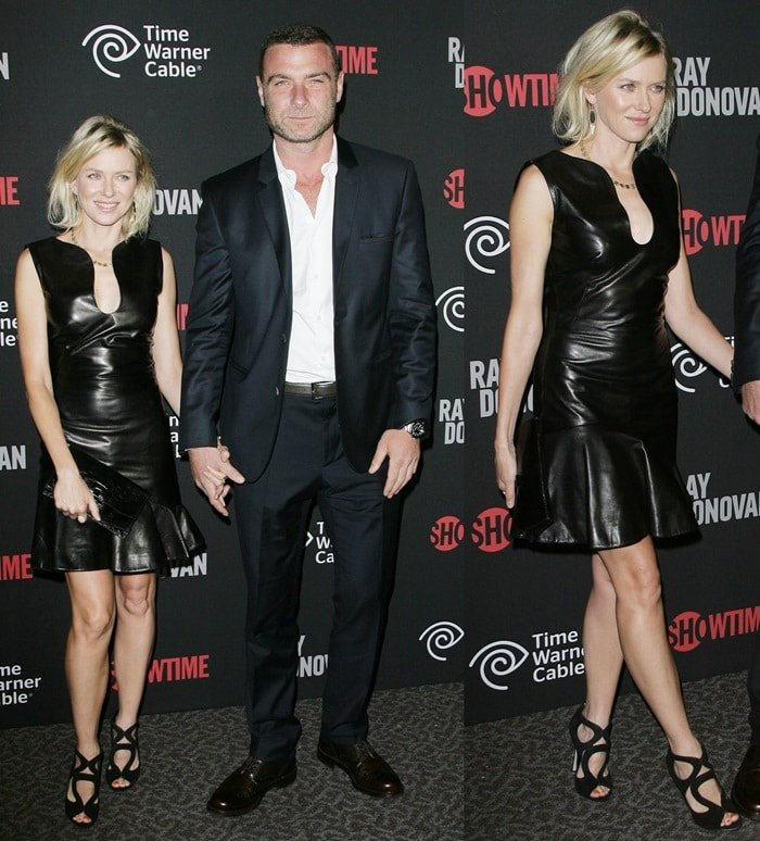 Naomi Watts flaunts her hot legs at the premiere of the Showtime series Ray Donovan with boyfriend Liev Schreiber