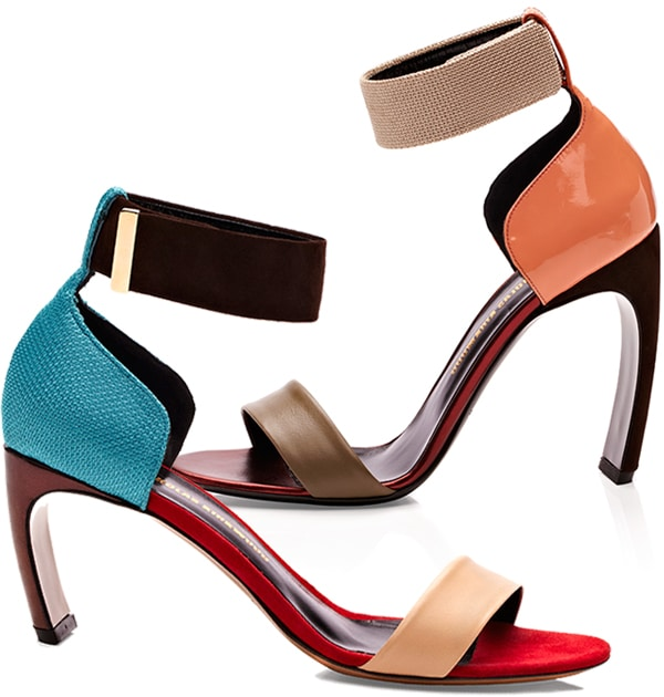Khaki Orange and Nude/Blue/Chocolate Bow-Heel Sandals