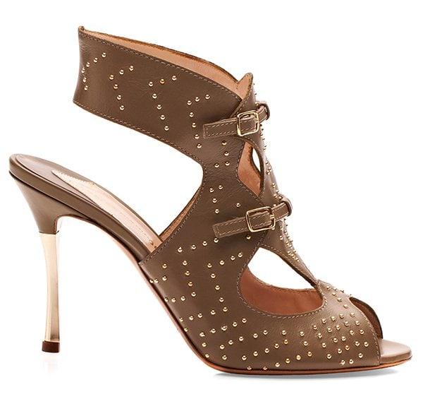 Nicholas Kirkwood Khaki Studded Sandals