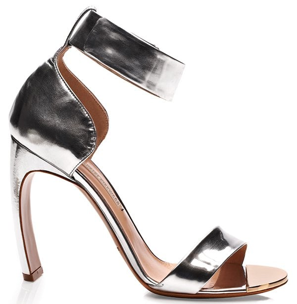 Nicholas Kirkwood Metallic Silver Bow Heel Sandals