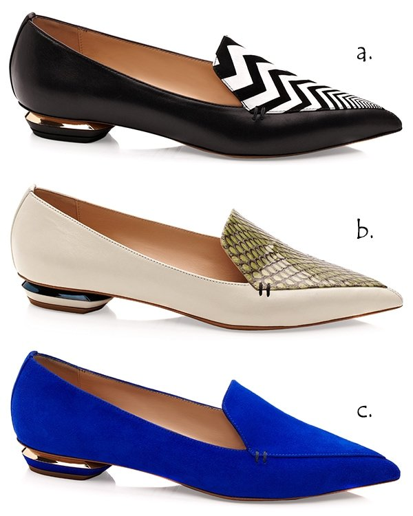 Black Calf and Pointy Zigzag Vamp Slippers / Cream Calf and Pointy Python Vamp Slippers / Blue Suede Pointy Slippers