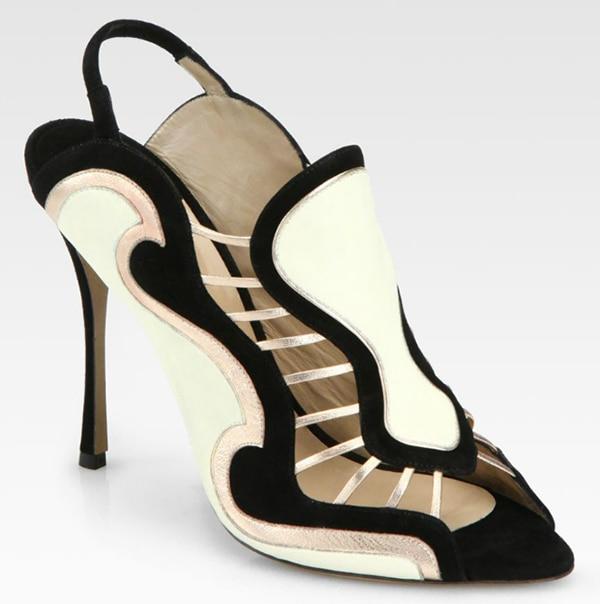 Nicholas Kirkwood Metallic Leather and Suede Slingback Sandals