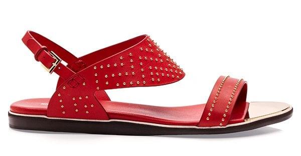 Nicholas Kirkwood Studded Red Flat Sandals