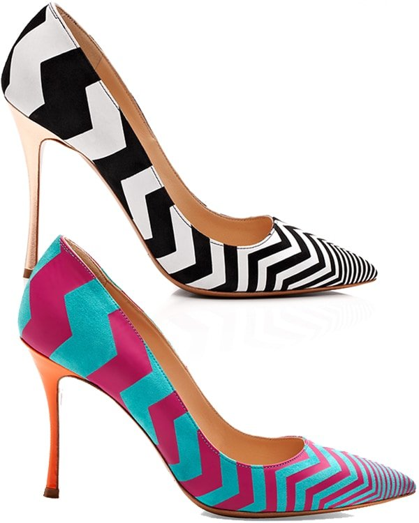 Zigzag Pumps in Black and White / Blue and Pink