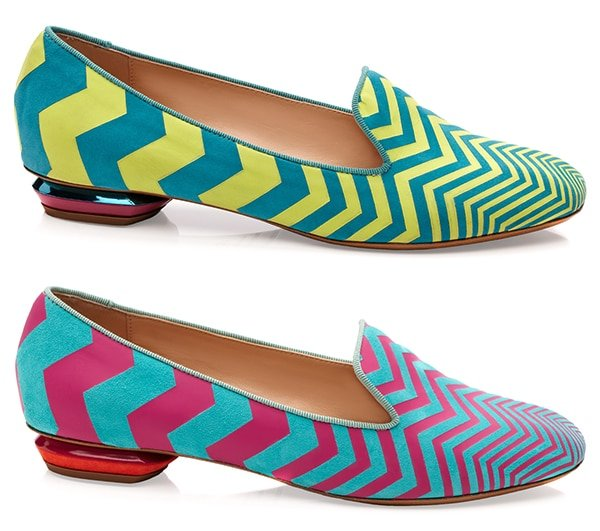 Nicholas Kirkwood Zigzag Slippers in Green and Blue / Blue and Pink