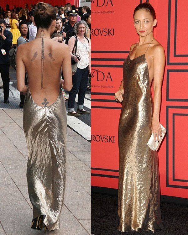 Nicole Richie shows off her back tattoos at the 2013 CFDA Awards