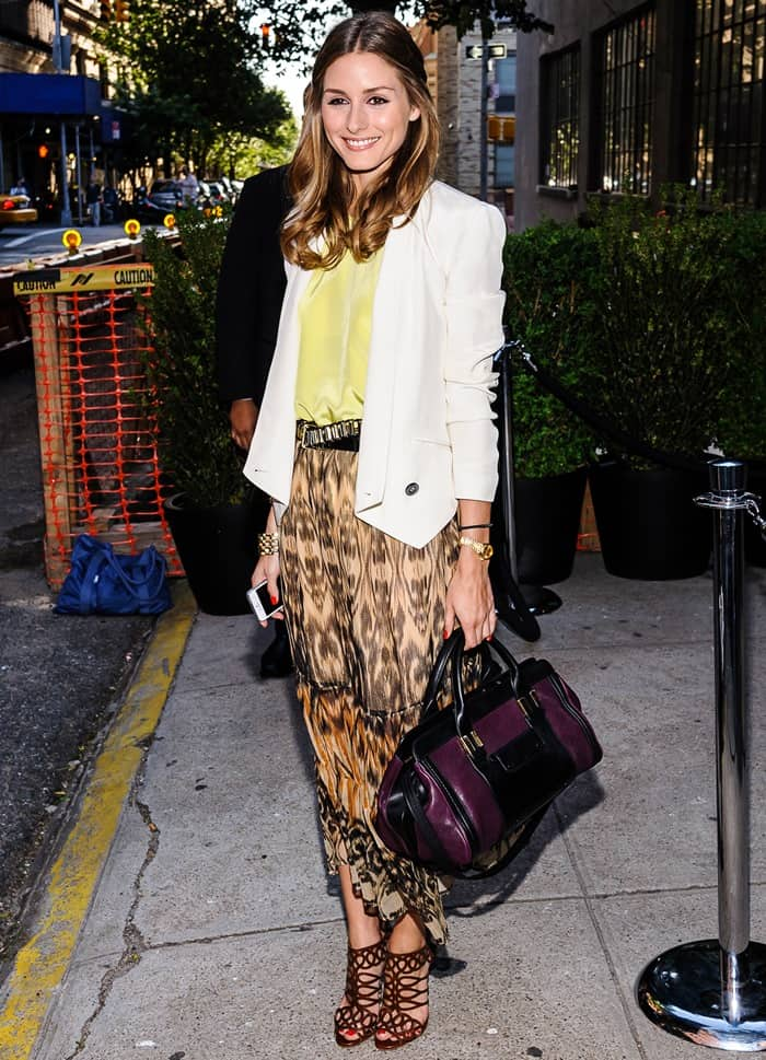 Olivia Palermo in an eclectic mix of separates finished with a Chloe purse