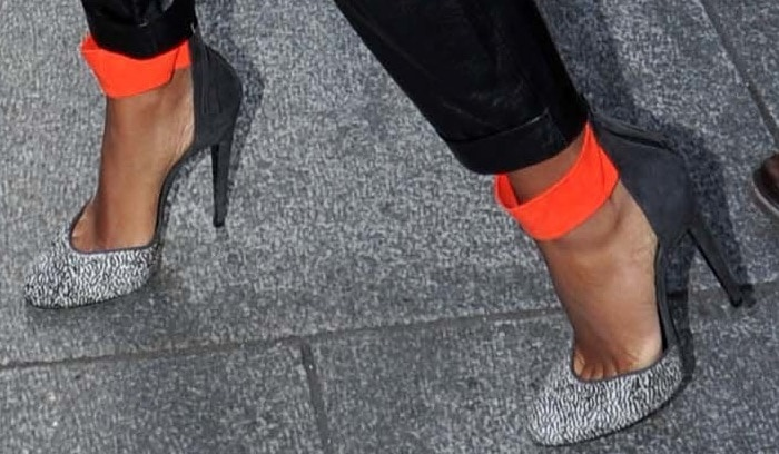 Pierre Hardy pumps with a pop of orange for Solange Knowles