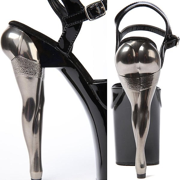 Pleaser Vixen Platforms in Black Patent