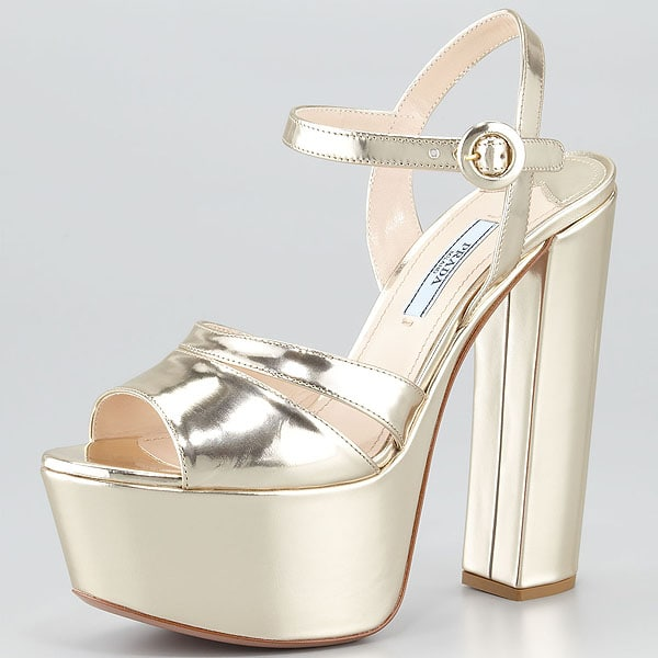 Prada Metallic Platform Sandals in Gold