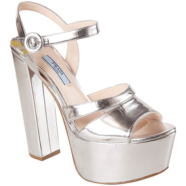 Prada Metallic Platform Sandals