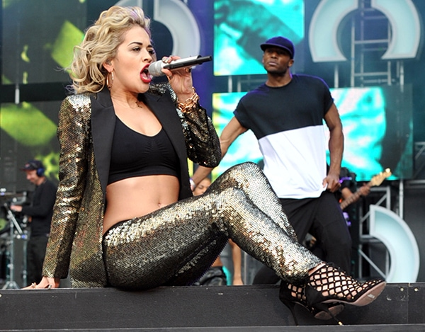 Rita Ora performs in a sequined suit at the Sound of Change Live concert