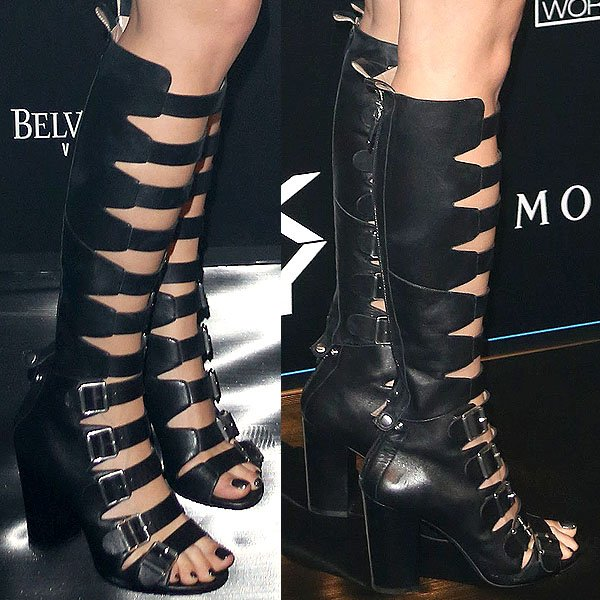 Rita Ora buckled gladiator boots