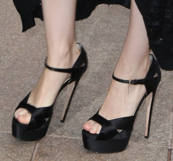 Rooney Mara's pretty feet in Brian Atwood sandals