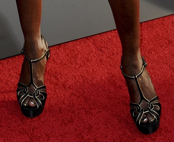 Rutina Wesley displayed her sexy feet in Casadei shoes