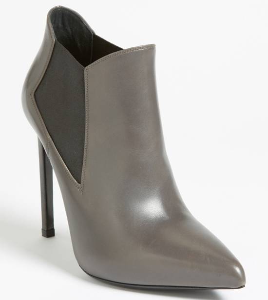 Saint Laurent Gored Leather Ankle Booties
