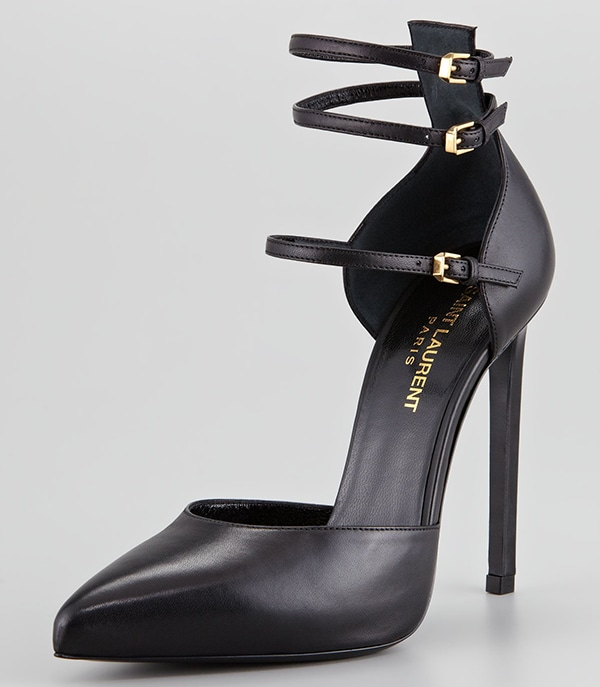 Saint Laurent Paris Triple Ankle-Strap Pump