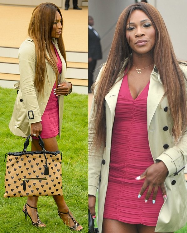 Serena Williams flaunts her sexy legs at the Burberry Prorsum Menswear Spring/Summer