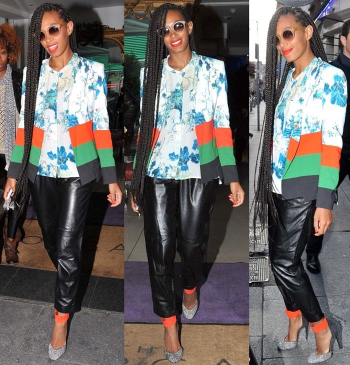 Solange Knowles wearing a blue silk shirt from Etro with a matching blue and white silk jacket