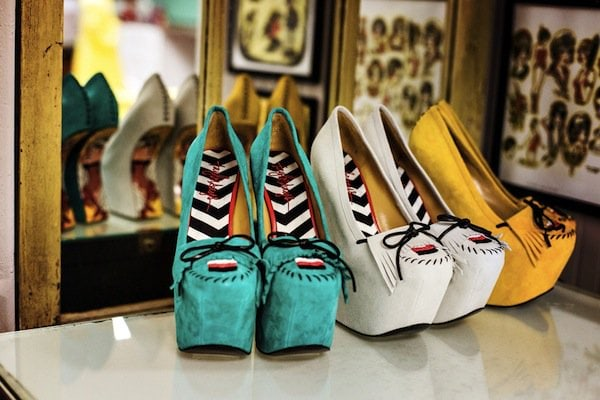 "TaylorSays ""Rory"" Wedges in Teal, White & Yellow"