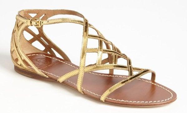 Tory Burch Amalie Sandals Metallic Gold