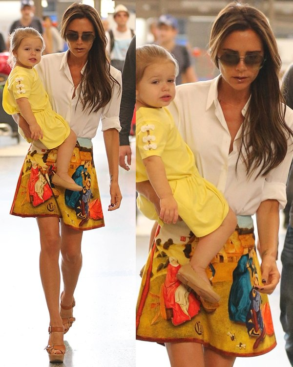 Victoria Beckham and Harper Seven Beckham arriving at LAX airport on June 1, 2013