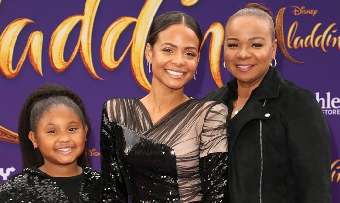 Christina Milian with her daughter Violet Madison Nash and her Cuban mother Carmen Milian at the premiere of Aladdin