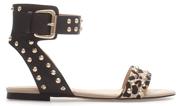 Zara Leopard Print Studded Sandals