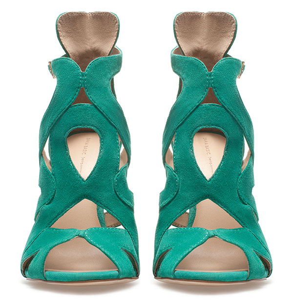 Zara Strappy High-Heel Sandals in Green