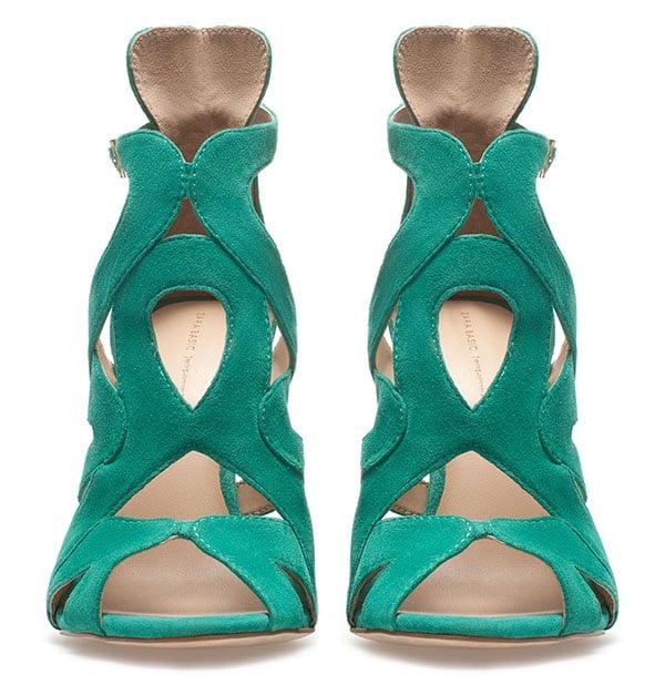 Zara Strappy High Heel Sandals in Green