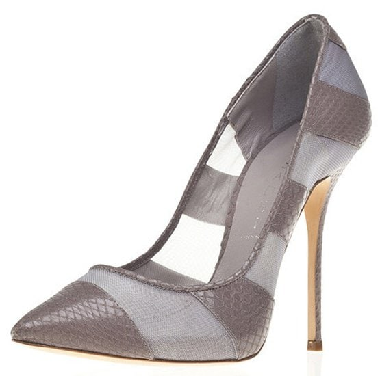 casadei sheer mesh and snakeskin pump in gray