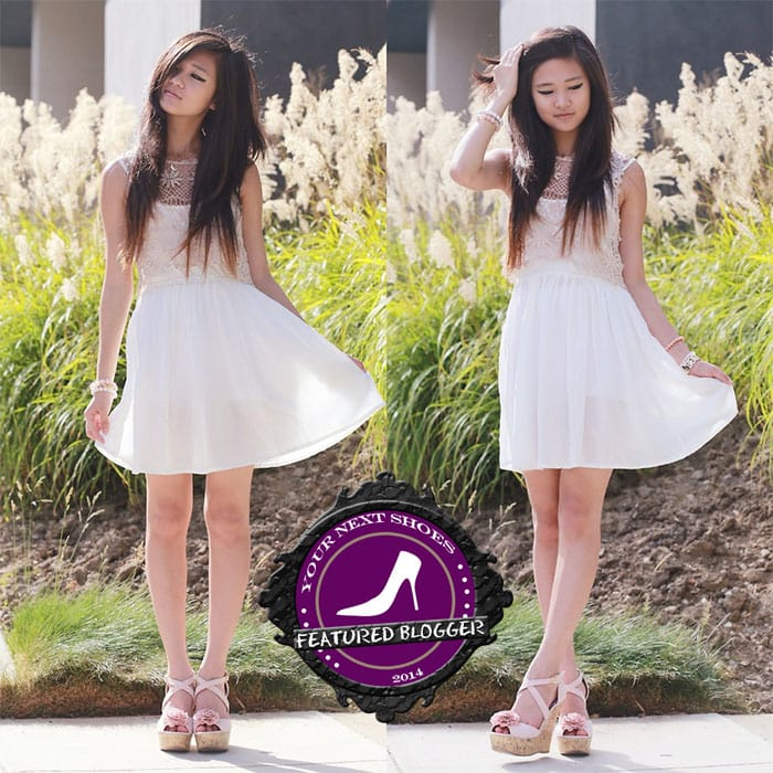 Elaine in a little white dress and dusty pink Charlotte Russe wedges