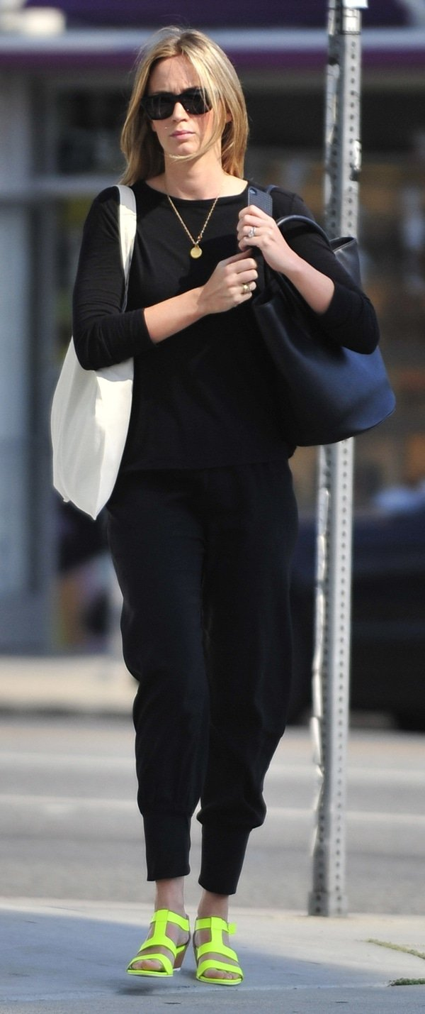 Emily Blunt finished an all-black ensemble with colorful shoes