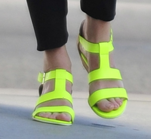 Emily Blunt wearing Nanette Lepore 'Absolute Wonder' Wedges in Neon Yellow