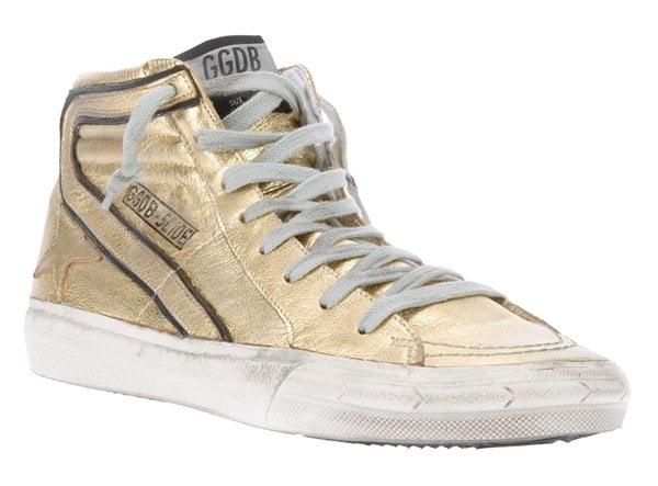 Golden Goose Deluxe Brand Hi-Top Sneakers in Metallic Gold