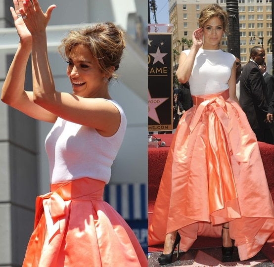 Jennifer Lopez is honored with a star on the Hollywood Walk of Fame in separates from Dior