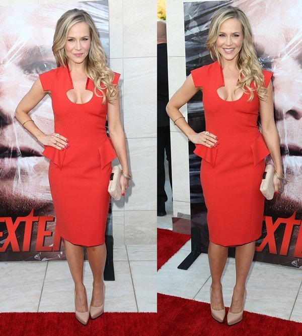 Julie Benz with lightly curled blonde hair at the season 8 premiere of 'Dexter'