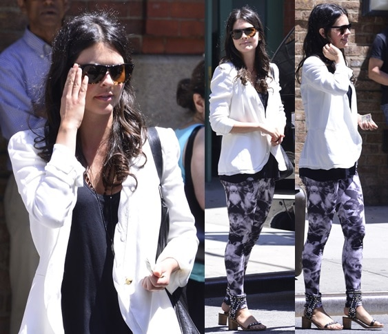 Food critic Katie Lee wearing Isabel Marant's 'Caroll Elvis' heeled cuff sandals while exiting her hotel in New York on June 19, 2013