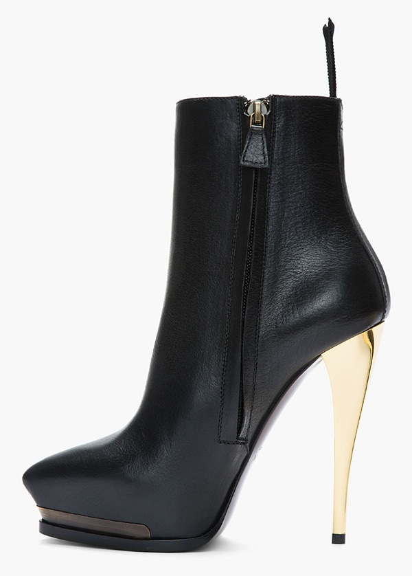 Lanvin Gold-Heeled Leather Ankle Boots