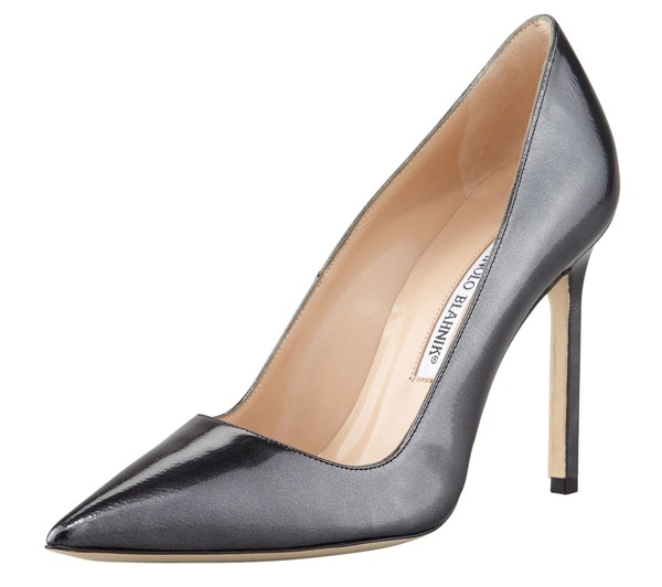 manolo blahnik bb black titanium pump