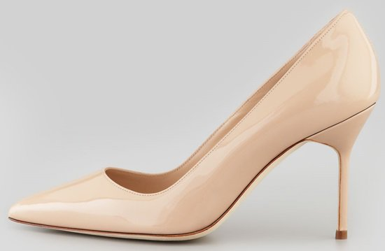 Manolo Blahnik BB 90mm Pumps in Nude Patent