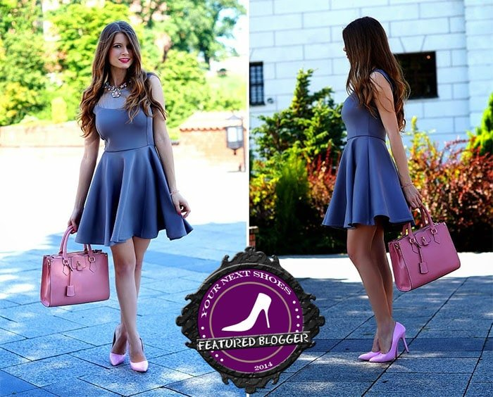 Zoya matching a pink handbag with pink Labotti pumps