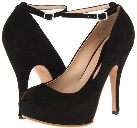mcq peep toe ankle strap pumps