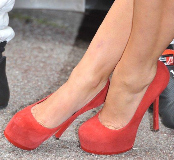 myleene klass red dress pumps mclaren santander june 26