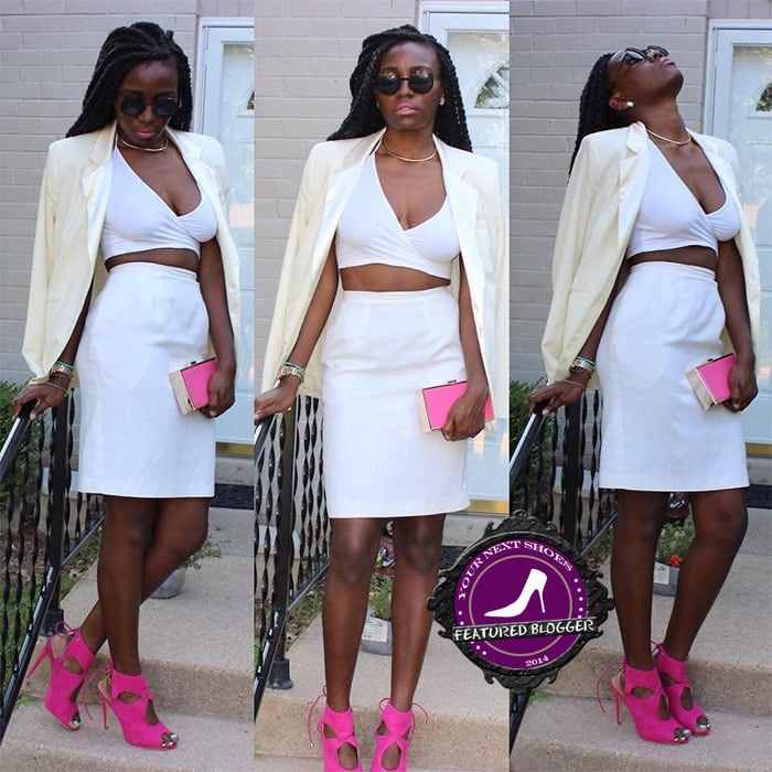 Christane contrasting an all-white outfit with pink JustFab heels