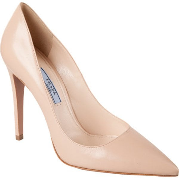 Prada Pointed-Toe Pumps in Nude