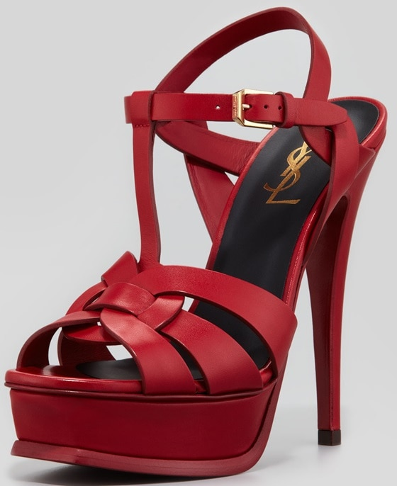 saint laurent tribute sandals red sole red leather